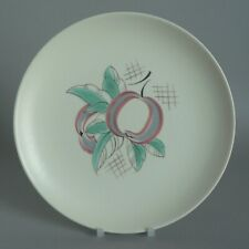 "POOLE POTTERY RED PIPPIN 9"" LUNCHEON PLATES YU PATTERN PERFECT 1950S VINTAGE FUN"
