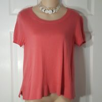 ANN TAYLOR Size Small Pink Short Sleeve Pull Over Knit Sweater Shirt Top Womens