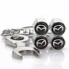 Car Tire Valve Caps Air Valve Dust Covers Wrench Keychain Logo For Mazda