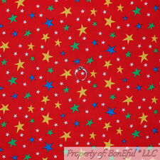 BonEful FABRIC FQ Cotton Quilt Red White Blue STAR American Baby Boy Super Hero