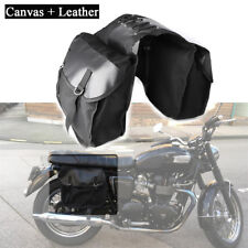 Motorcycle Saddle Bag Durable Canvas + Leather Black Universal Travel Essential