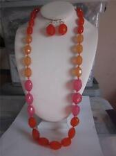 MULTI ORANGE FACETED LUCITE BEAD GRADUAL LONG NECKLACE EARRING SET
