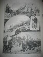 Gravure 1875 - Japon Lancement de la canonnière Séiki