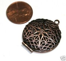 5 Antique Copper Filigree Locket Charm Pendant 27x32mm