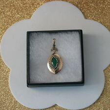 925 Silver Necklace With Emerald And Topaz 5.9 Gr. 3.5 x 2 Wide + Siver Collar