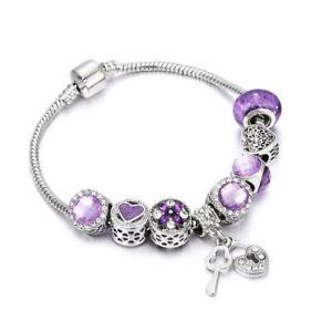 Women Authentic Pandora Silver Bracelet with Purple Love European Heart  Charms