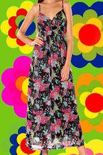 179✪ 60er 70er Jahre Indian Gipsy Blumen Maxi dress Kleid Hippie Boho Gr. 40