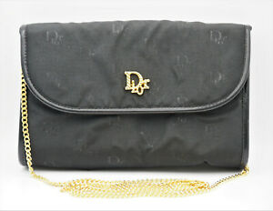 AUTHENTIC VINTAGE CHRISTIAN DIOR MADE IN FRANCE CHAIN SHOUDER BLACK MINI BAG NR