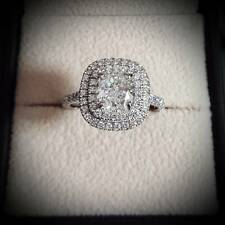 1.90 Ct Cushion Cut Double Halo Natural Diamond Engagement Ring - GIA Certified