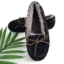 Ugg Women's Black Moccasin Shearling Slippers 3050 Size 8