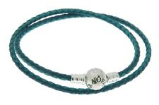 "Pandora Women's 15.0"" Bracelet Blue Woven Leather Jewelry 590747CBMX-D2"