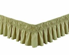 New Wrap Around Bed Skirt Queen size Ruffled Elastic Sold Olive/Sage Green