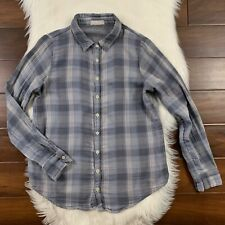 CP Shades Women's XS Blue Gray Plaid Button Up Long Sleeve Shirt Top 100% Cotton