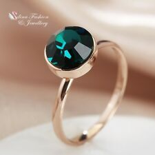 18K Rose Gold GF Made With Swarovski Crystal Exquisite Single Round Emerald Ring