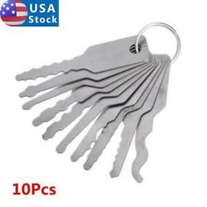 10Pcs Stainless Jiggler Keys Dual Sided Car Unlocking Lock Opening Repair Kits