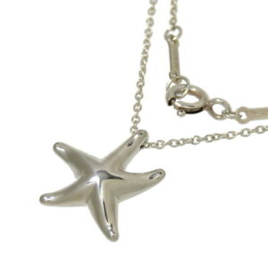 """Tiffany & Co. Star Starfish Pendant Necklace Sterling Silver 925 17"""" F/S"""