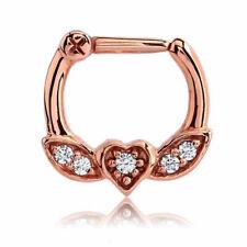 Rosegold Septum Clicker Herz Kristalle Piercing Klick Ring Nasenring Rosé Rot