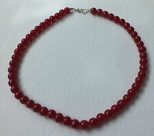 RED GLASS NECKLACE LOOKS LIKE CARNELIAN OR AMBER SILVER PLATED 16 INCH PRL