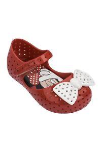 Mini Melissa X Disney Furadinha Minnie Mouse Bow Mary Jane Red Flat Shoe Size 7