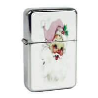 Refillable Oil Windproof Flip Top Lighter Light Pink Santa Claus Face Retro Vntg