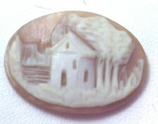 NOS Antique Vintage Hand Carved Oval Shell CAMEO Stone House & Tree Scene #N408