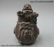 Chinese Tibet old Pure Bronze Maitreya Buddha Hidden in the bag statue