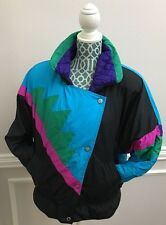 VTG 80s Andy Johns Color Block Shoulder Pads Ski Jacket Parka Womens Large XL