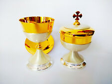 Chalice with paten & Ciborium Set Brass Gold plated Holy USNYB63 #Newyearoffer
