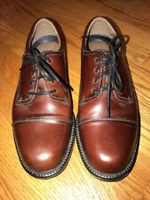 G H BASS Lace Up  Casual Dress Saddle Oxford Cordovan LEATHER Shoes Men Sz 8.5 #