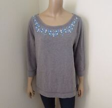 NWT Hollister Womens Embriodered Sweater Size Large Top Shirt Sweatshirt Gray
