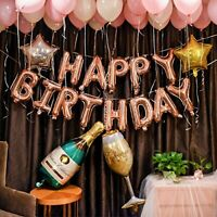 Rose Gold Birthday Party Decorations Set with Happy Birthday Balloons Banner
