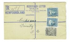 "Newfoundland Registered ""A"" Letter envelope used to Trinity URF1"