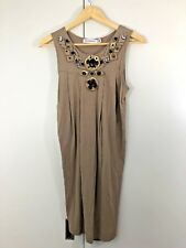 ZARA Size M 10 12 Womens Brown Beaded Casual Summer Singlet Tank Top