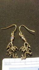 3D Dragon Brass charm earrings Steam Punk, Fantasy,