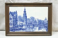 Art Tiles Framed Hand Painted Klinkenberg Blue White European City River Boats