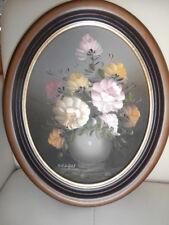 Oval Ölgemälde mit Blumen Motiv Altes Stillleben Ölbild auf Holz sig Schönfeld