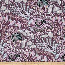 By 1/2 Yard Dena Designs Isabelle Ornate Plum  Free Spirit Fabric Paisley Purple