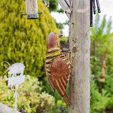 Wall Mountable Metal Bird Ornament Garden Wall Art w/ Flapping Wings