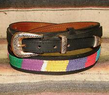 Vintage Multi Color Brushed Woven Cloth / Leather Western Ranger Belt 40 New