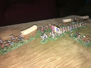39 Painted  - 1/72 Confederate Supply Wagons & Infantry w Artillery Support !