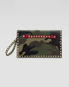 Valentino Clutch Rockstud Camouflage Leather / Canvas Studded Go Glam Bag