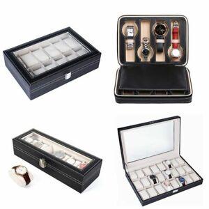 6/8/12/20/24 Grid Watch Box Leather Display Glass Jewelry Holder Storage Case