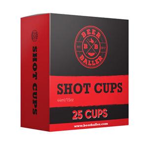 BeerBaller® Shot Red Cups - 25 rote Schnapsgläser aus Plastik für Shot Pong