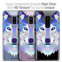"Coque Housse Etui Pour Samsung Galaxy S9+ (6.2"") Polygon Animal Souple Fin Loup"