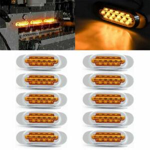 """10x Amber 6.5"""" LED Side Marker Turn Signal Light For Peterbilt Mack Chrome 16LED"""