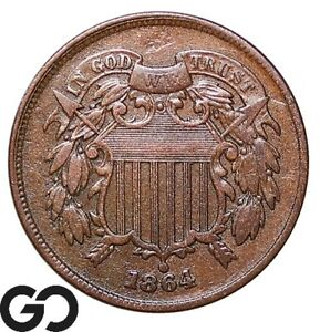 1864 Two Cent Piece, Large Motto