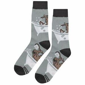 NWT Bathing Sloth Dress Socks Novelty Men 8-12 Gray Fun Sockfly
