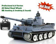 Heng Long Radio Control Remoto RC Alemán Tiger Platino toda de metal de las ruedas de carretera Reino Unido