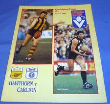 1982 AFL VFL Football Footy Record Qualifying Final Hawthorn V Carlton No Scores