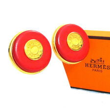 "Auth HERMES Clou de Selle Red/Goldtone Clip on Earrings 2.8cm/1.1"" w/Box Vintage"
